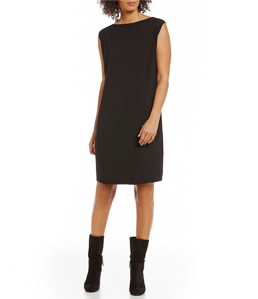 Eileen Fisher Viscose Jersey Cap Sleeve Dress
