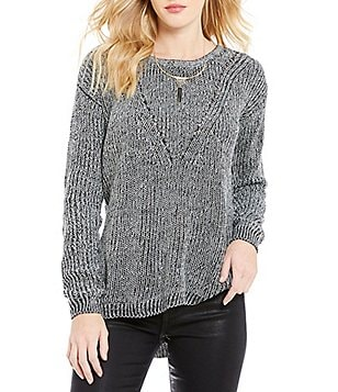 Skies Are Blue Round Neck Long Sleeve Cut-Out Back Sweater