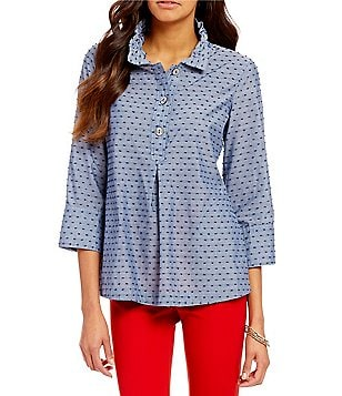 John Mark Chambray Notch Collar Drawstring 3/4 Sleeve Clip Dot Tunic
