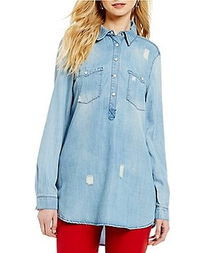 John Mark Point Collar Long Sleeve Distressed Denim Tunic