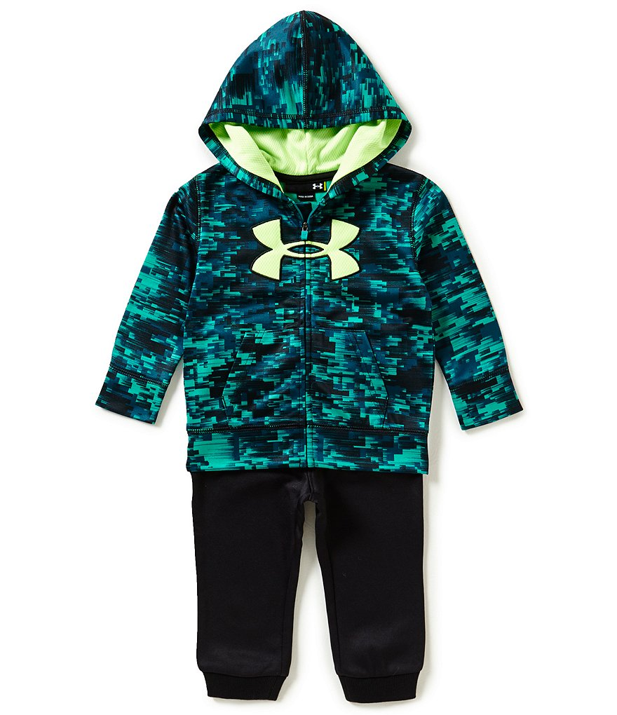 Under Armour Baby Boys 12-24 Months Cracked Print Big Logo Fleece Hoodie & Solid Pant Set