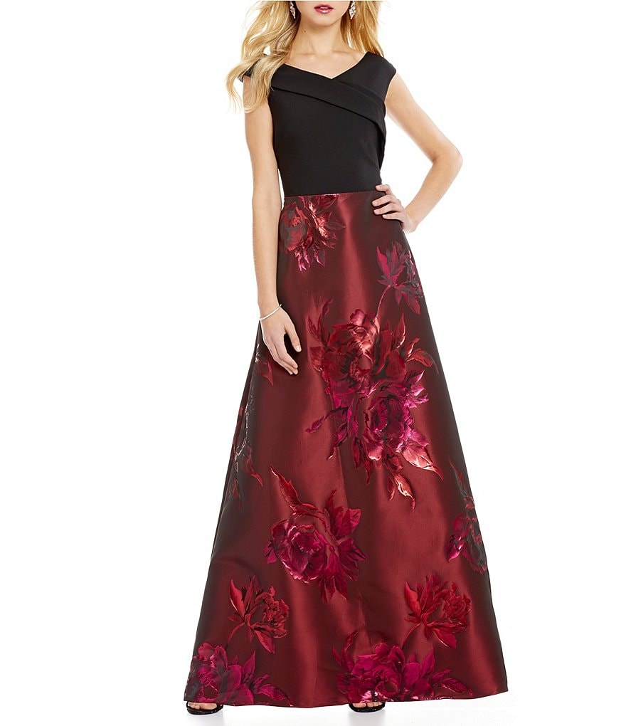 Ignite Evenings Off-The-Shoulder Portrait Collar Floral Brocade Gown