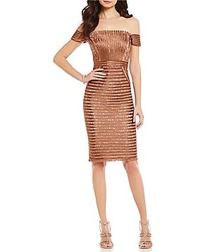 JS Collections Off-the-Shoulder Banded Lace Sheath Dress