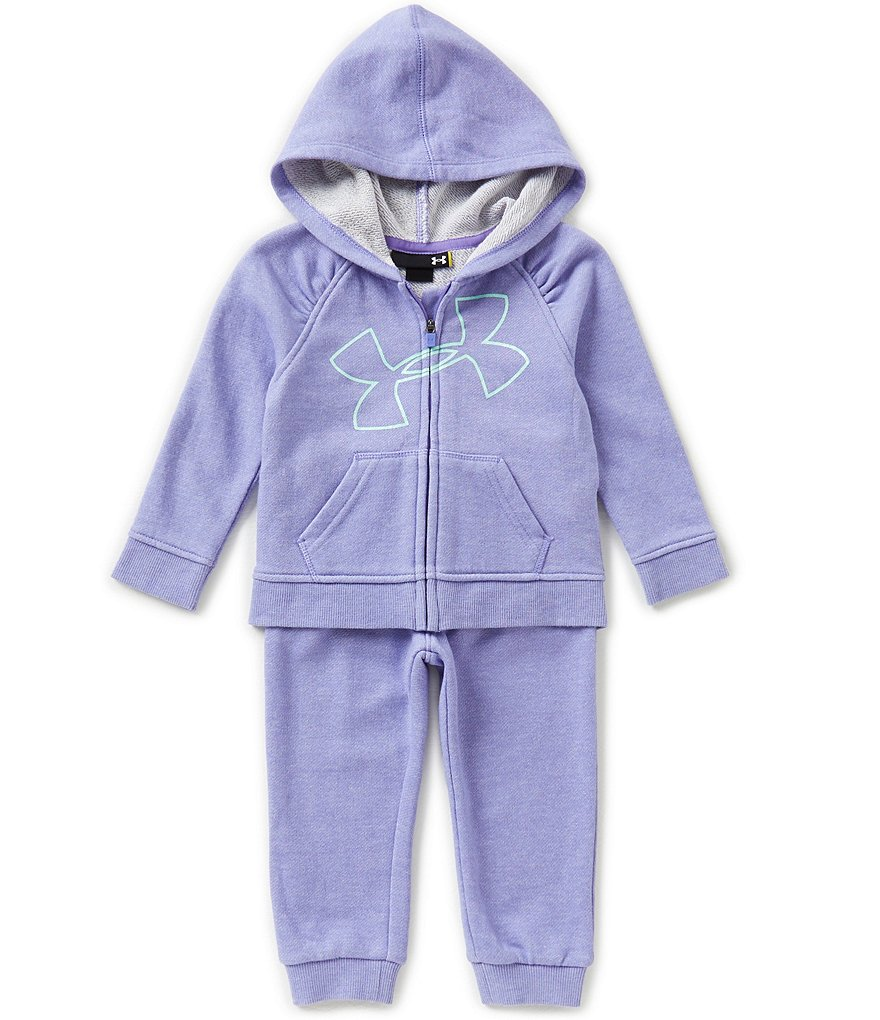 Under Armour Baby Girls 12-24 Months Glitter-Accented Big Logo Hoodie & Matching Pant Set