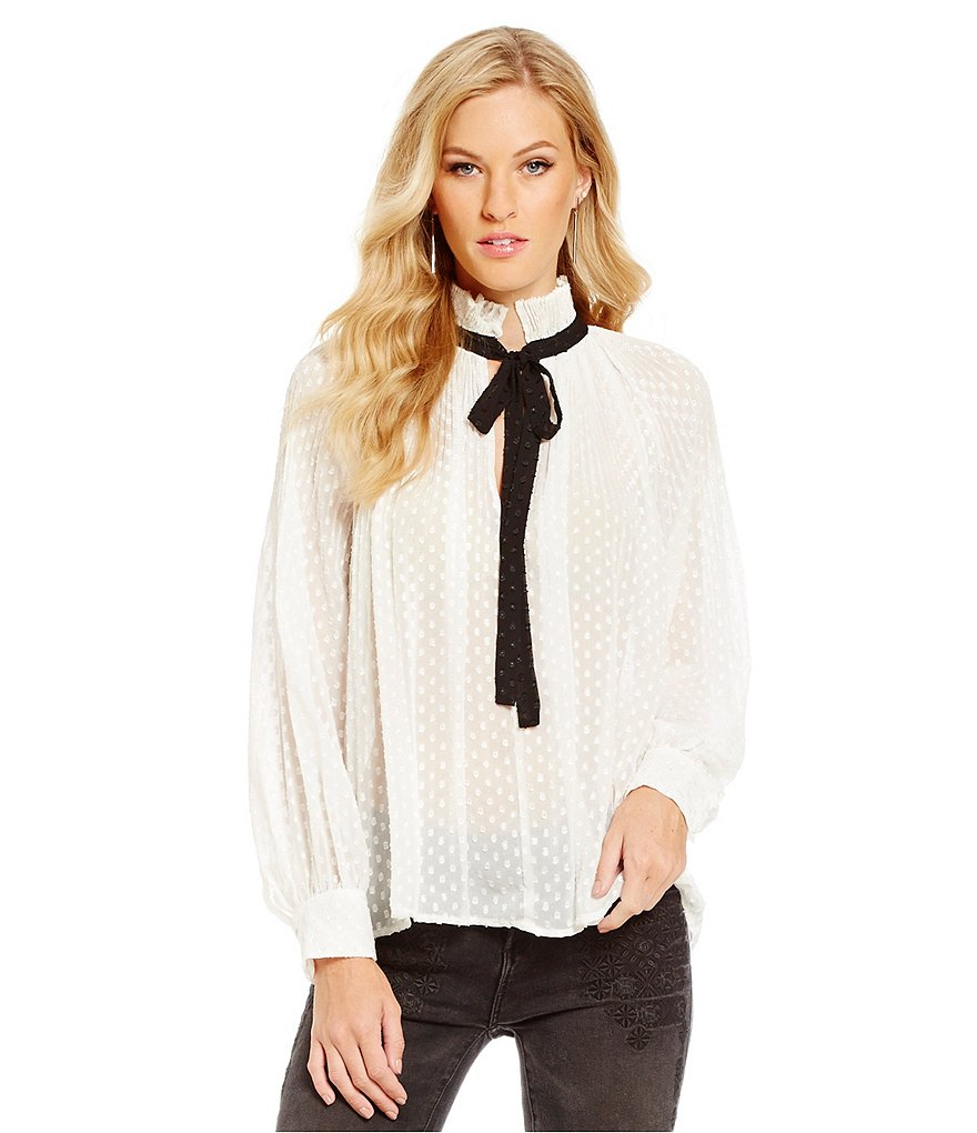 Chelsea & Violet Pleated Tie-Neck Blouse