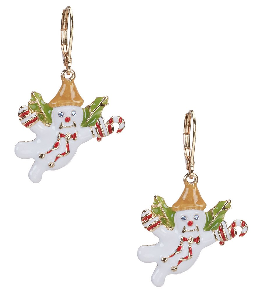 Merry & Bright Mr. Bingle Candy Cane Drop Earrings