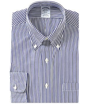 Brooks Brothers Non-Iron Regent Fit Fitted Classic-Fit Button-Down Collar Striped Dress Shirt