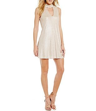 J.O.A. Choker Neck Sleeveless Champagne Shimmer Dress