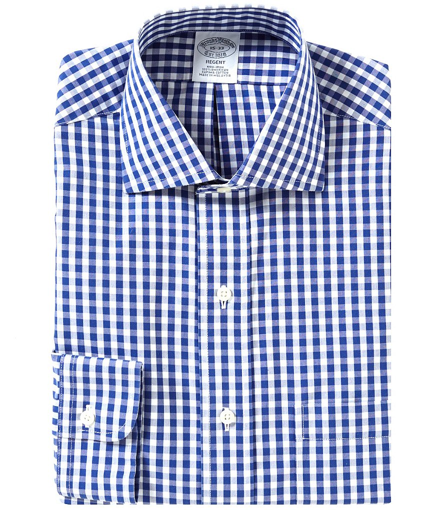 Brooks Brothers Non-Iron Regent Fit Fitted Classic-Fit Spread Collar Gingham Dress Shirt