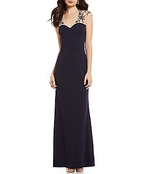 JS Collections Crepe Beaded Illusion Neck Gown