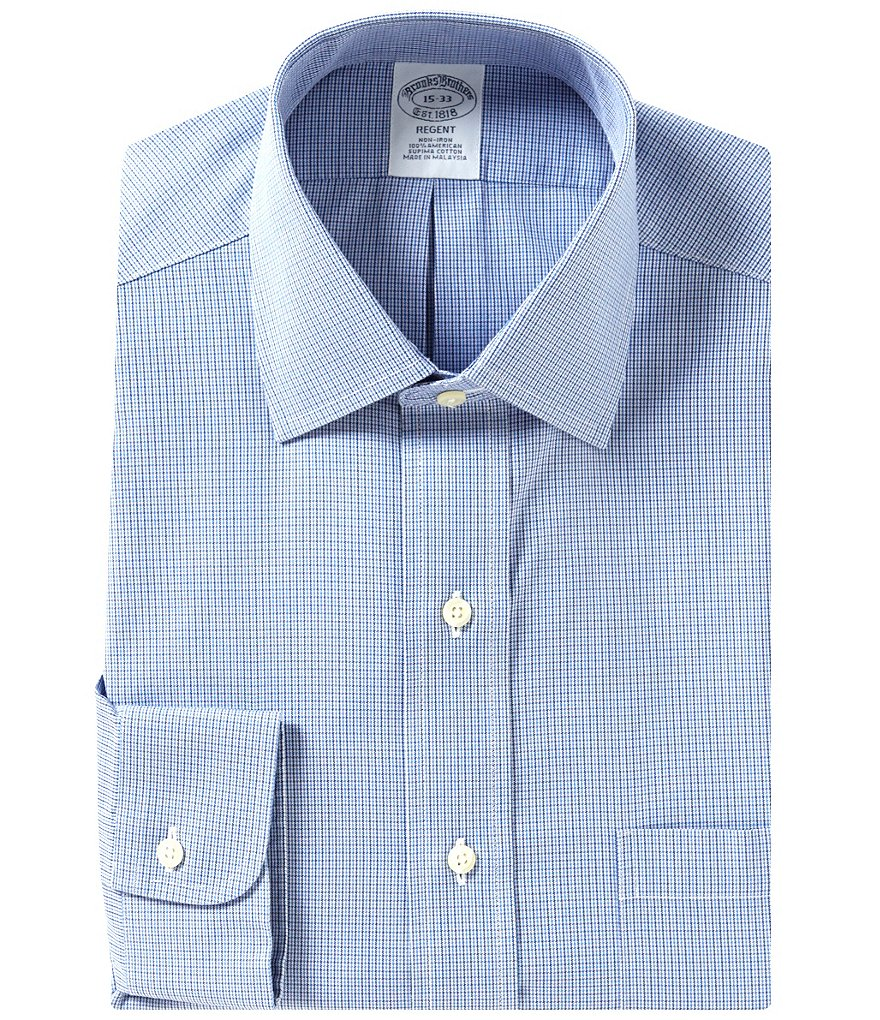 Brooks Brothers Non-Iron Regent Fit Fitted Classic-Fit Spread Collar Houndstooth Dress Shirt