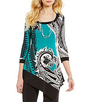Eva Varro Savanah Scoop Neck 3/4 Sleeve Asymmetrical Hem Tunic