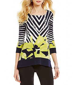 Eva Varro Boat Neck 3/4 Sleeve Swing Print Tunic