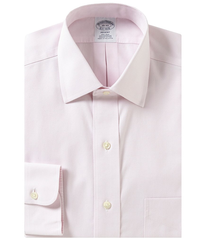 Brooks Brothers Non-Iron Regent Fit Fitted Classic-Fit Spread Collar Diamond-Textured Dobby Dress Shirt