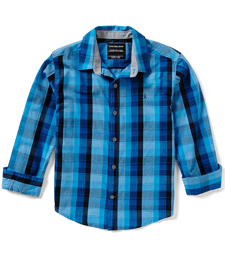 Calvin Klein Big Boys 8-20 Woven Plaid Long-Sleeve Shirt