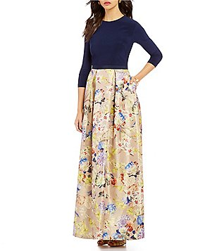 JS Collections Round Neck 3/4 Sleeve Floral Jacquard Gown