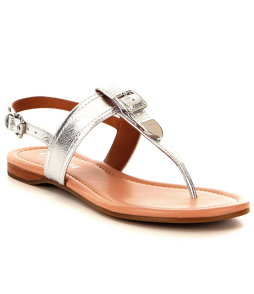 COACH CASSIDY METALLIC LEATHER BUCKLE CLOSURE SANDAL