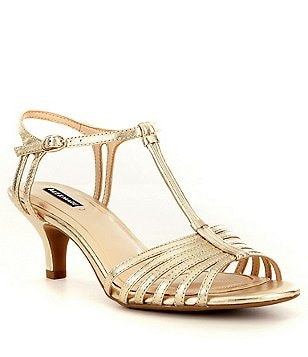Alex Marie Lanelle Metallic T-Strap Ankle Strap Dress Sandals