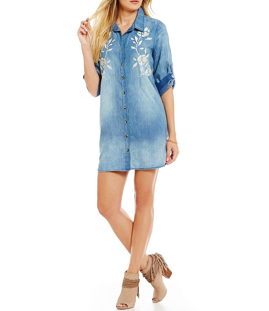 C&V Chelsea & Violet Embroidered Chambray Shirt Dress