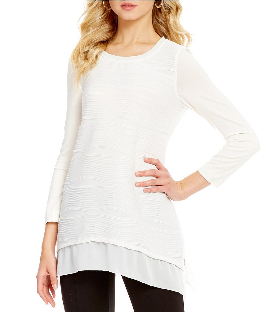 Ali Miles Textured Knit 3/4 Sleeve Georgette Hem Tunic