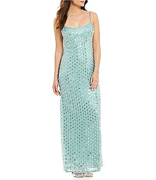 JS Collections Sweetheart Neck Spaghetti Strap Beaded Slip Gown