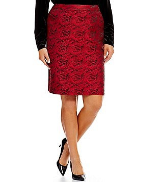 Calvin Klein Plus Rose Print Brocade Pencil Skirt