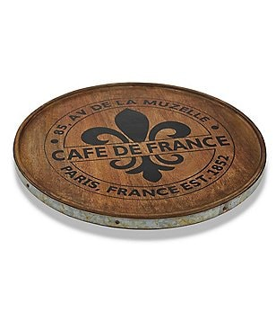 Mud Pie Bistro Collection Fleur de Lis Mango Wood & Tin Lazy Susan