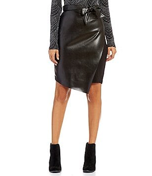 Chelsea & Theodore Faux-Leather Tie-Front Pencil Skirt