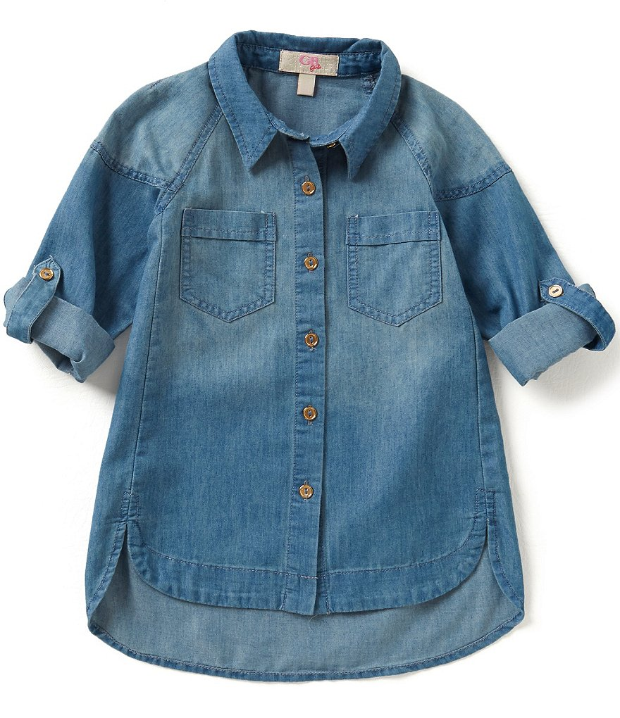 GB Girls Big Girls 7-16 Chambray Blouse