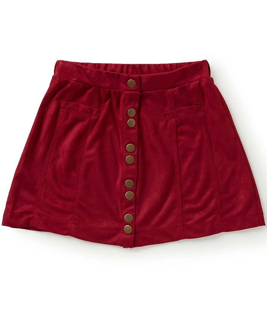 GB Girls Big Girls 7-16 Faux-Suede Button Front Skirt