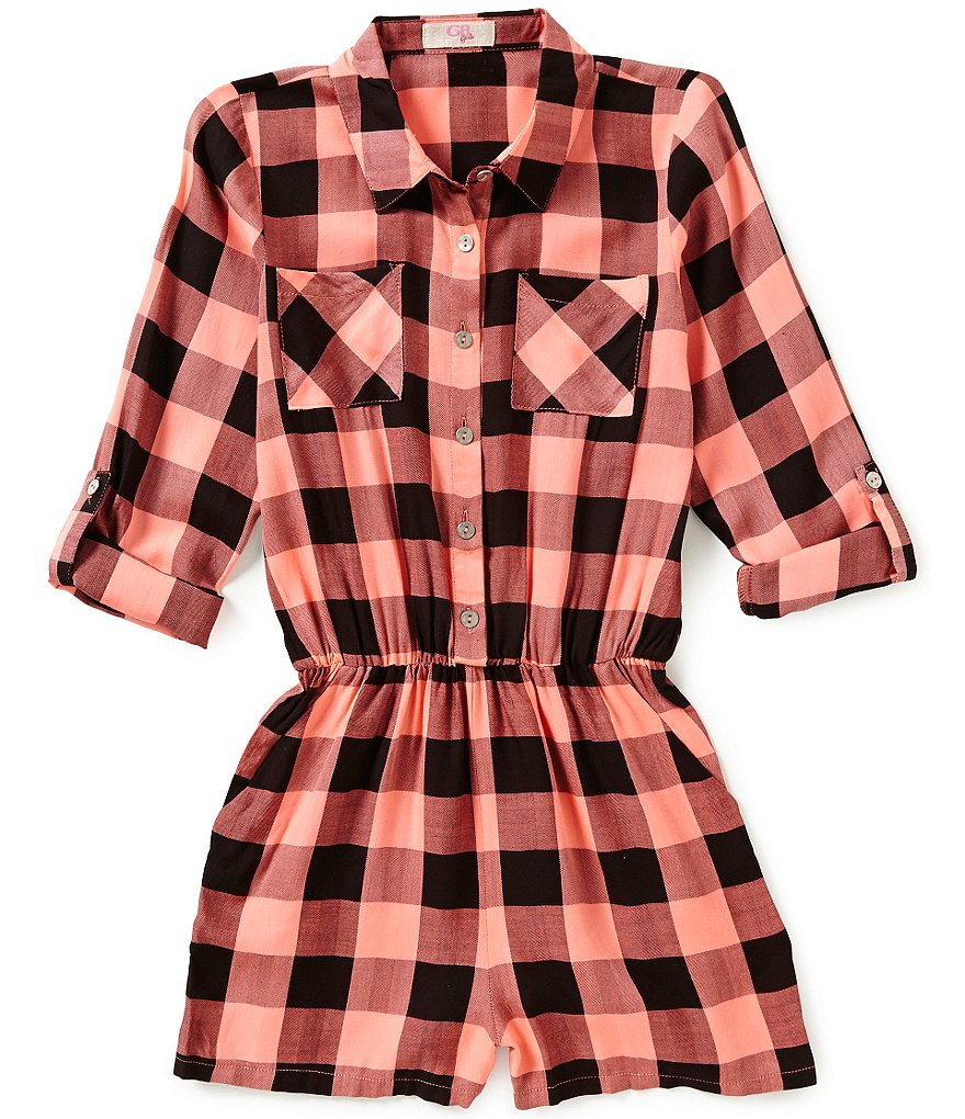 GB Girls Big Girls 7-16 Buffalo Plaid Romper
