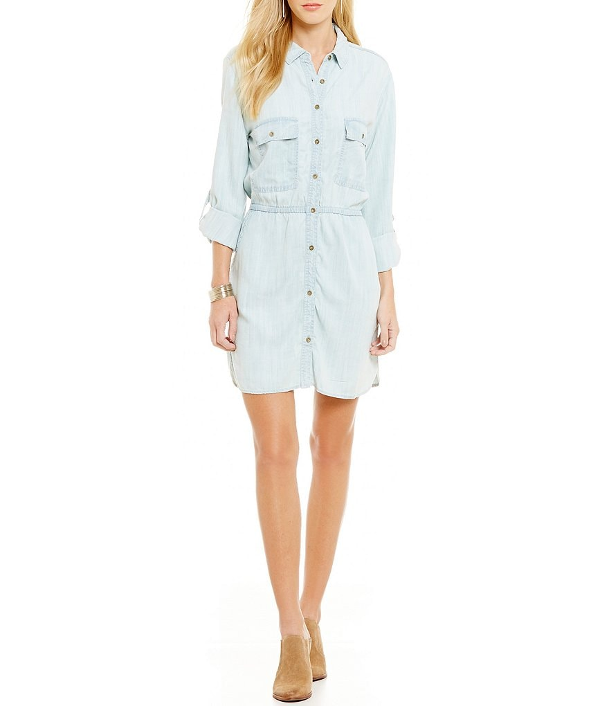 C&V Chelsea & Violet Chambray Button-Front Shirt Dress
