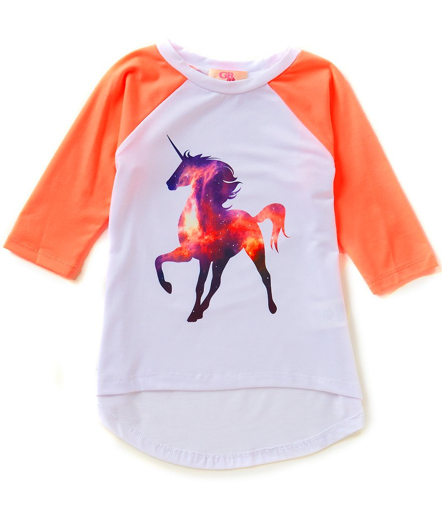 GB Girls Big Girls 7-16 Galaxy Unicorn Raglan Graphic Tee
