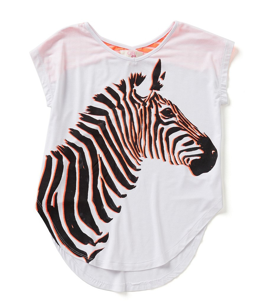 GB Girls Big Girls 7-16 Mixed Media Zebra Tee