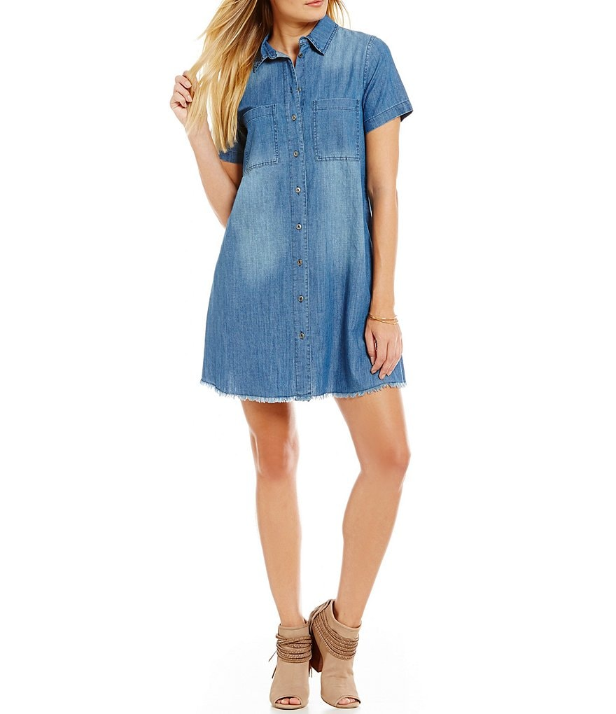 C&V Chelsea & Violet Frayed Button-Front Chambray Shirt Dress