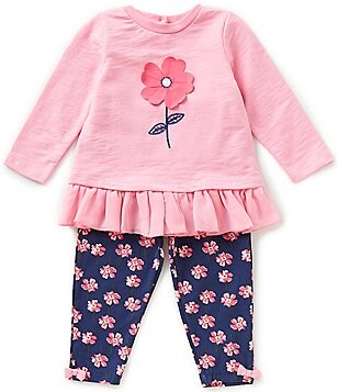 Little Me Baby Girls 12-24 Months Flower Graphic Tee and Flower-Printed Leggings Set