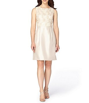 Tahari ASL Petite Lace-Bodice Shantung Sheath Dress