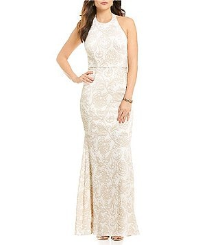 JS Collections Jacquard Halter Brocade Mermaid Gown