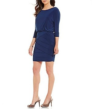 Adrianna Papell Matte Jersey Blouson Banded 3/4 Sleeve Dress