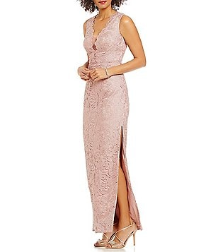 Aidan Mattox Deep V-Neck Scalloped Lace Gown