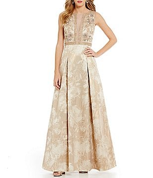 Aidan Mattox Beaded Metallic Jacquard Ball Gown