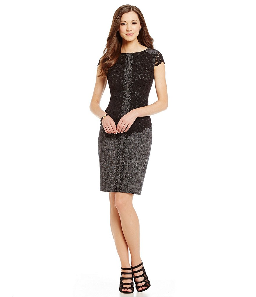 Antonio Melani Birdie Brushed Tweed/Lace Sheath Dress