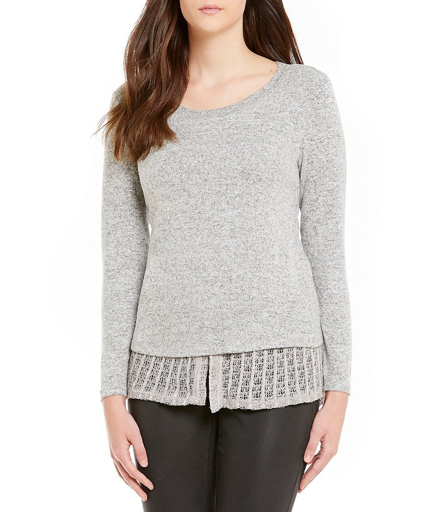 Nicola Shirttail Hem Scoop Neck Long Sleeve Knit Top
