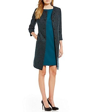 Albert Nipon Metallic Tweed and Satin Dress Suit