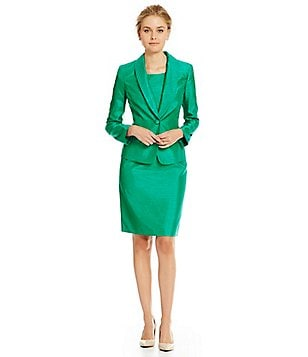 Albert Nipon Beaded Collar Sheath Dress Suit