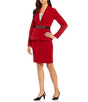 Albert Nipon Embellished Belt Crepe Skirt Suit