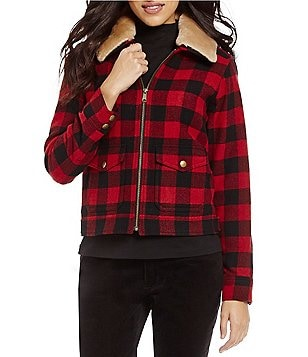 Pendleton Rob Roy Tartan Plaid Detachable Genuine Fur Collar Wool Jacket