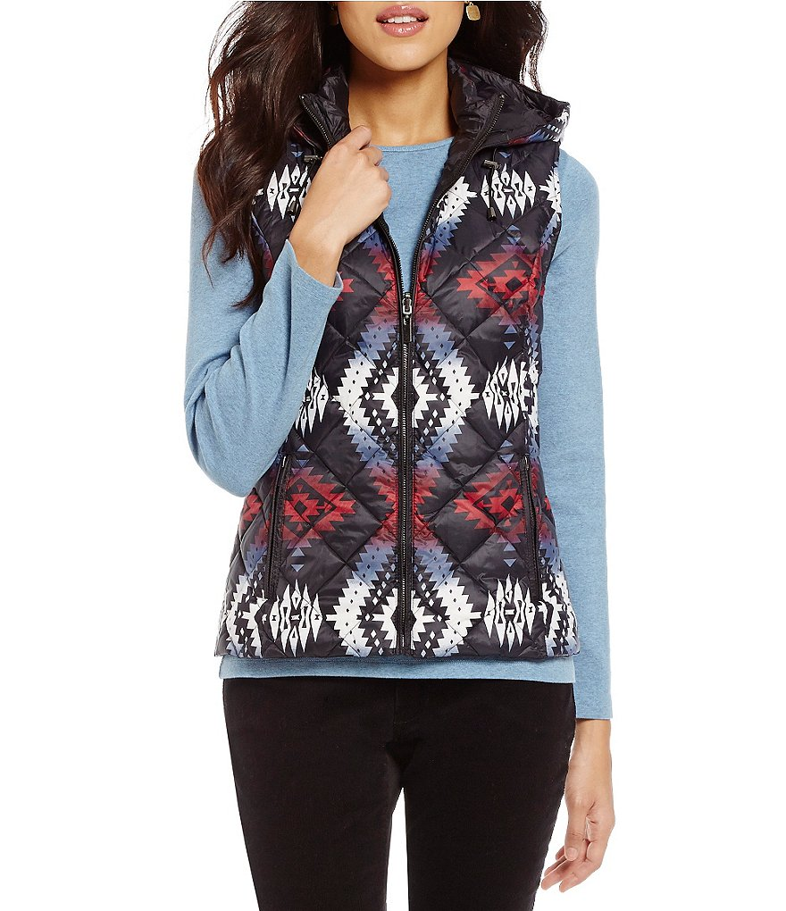 Pendleton Snow Drift Reversible Quilted Down-Filled Hooded Mock Neck Vest