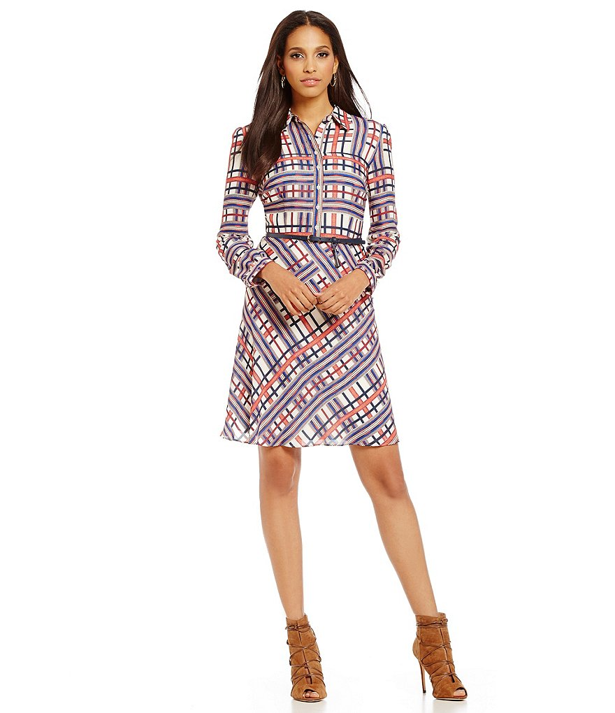 Cremieux Ashton Printed Button-Down Belted Dress