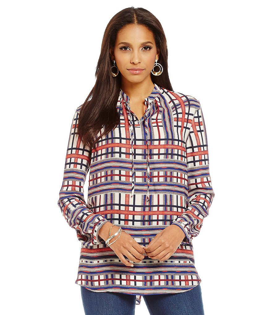 Cremieux May Printed Round Neck with Ties Long Sleeve Blouse